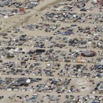 An aerial view of the Burning Man 2013 arts and music festival is seen in the Black Rock Desert of Nevada