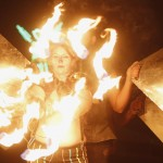 Members of Northwest Fire Conclave perform before during Burning Man 2013 arts and music festival in Black Rock Desert of Nevada