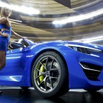 A Subaru WRX car is pictured during a media preview day at the Frankfurt Motor Show