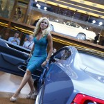 German TV presenter Sonya Kraus poses beside a Volvo concept GT car at Frankfurt Motor Show