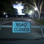 A barricade leading to the Lincoln Memorial prevents access to tourist buses in Washington