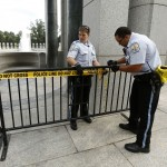 U.S. Park Police close off the World War II Memorial in Washington