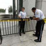 U.S. Park Police close off the World War II Memorial in Washington