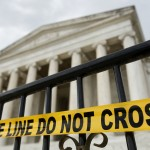 The Jefferson Memorial is seen with its entry closed off in Washington
