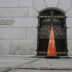 An orange cone blocks an entrance into a House office building on Capitol Hill in Washington