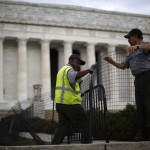 The Lincoln Memorial is sealed off from visitors in Washington