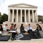 Students hold makeshift class outside the closed National Gallery of Art as partial govenment shutdown begins in Washington