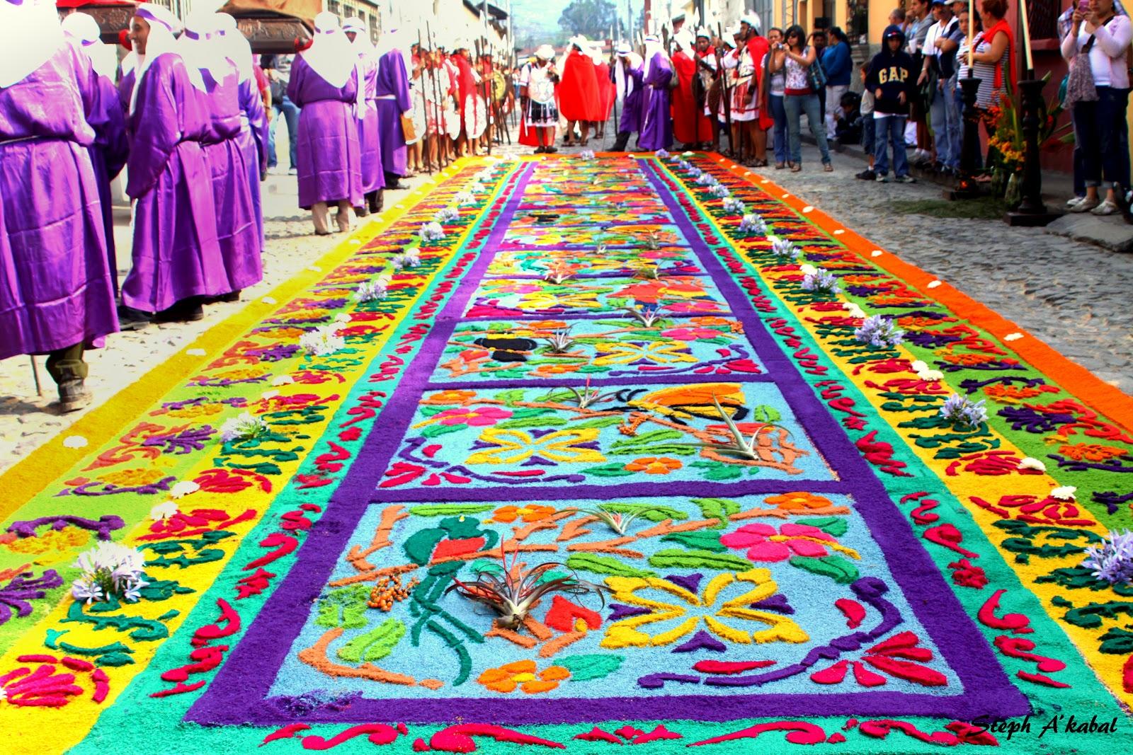Guatemaltecos intentar n romper r cord con la alfombra m s - Mundo alfombra ...