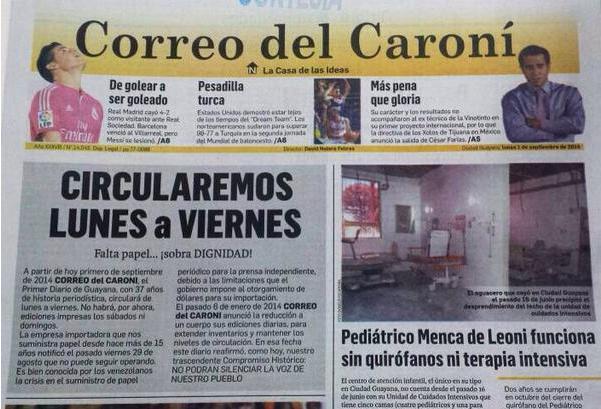 Correo del Caroní no circulará los fines de semana por falta de papel