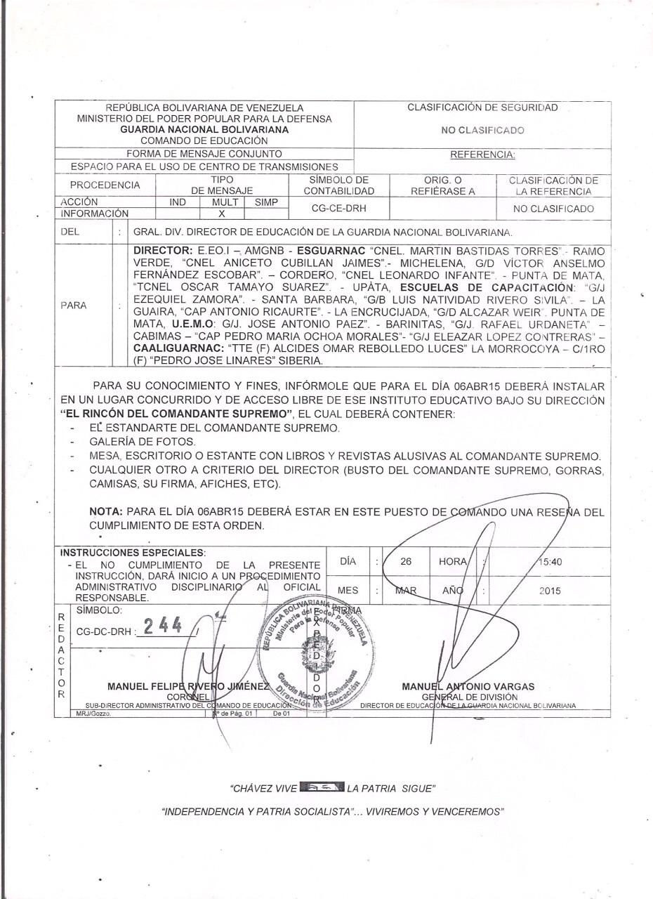Ordenan altares para venerar a Hugo Chavez en la Guardia Nacional  RinconCmdteSupremo