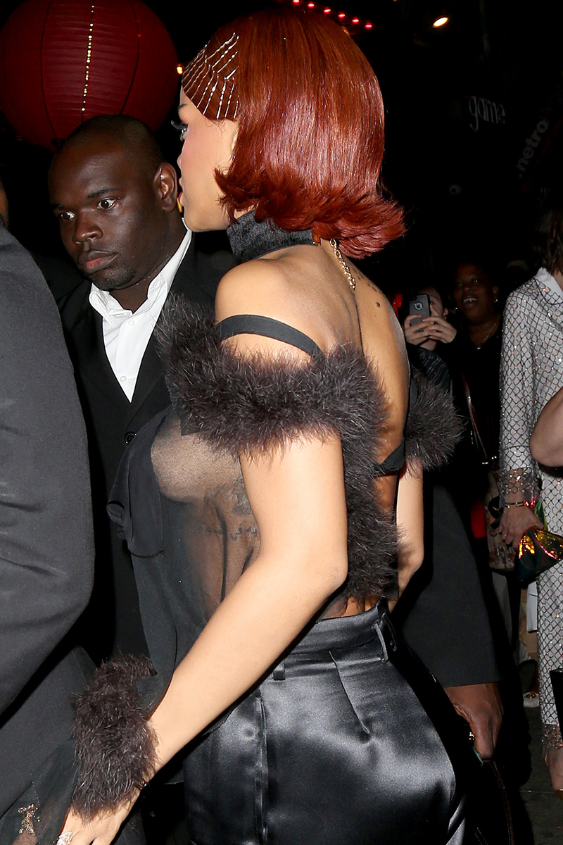 Rihanna steps out in see-through shirt in NYC