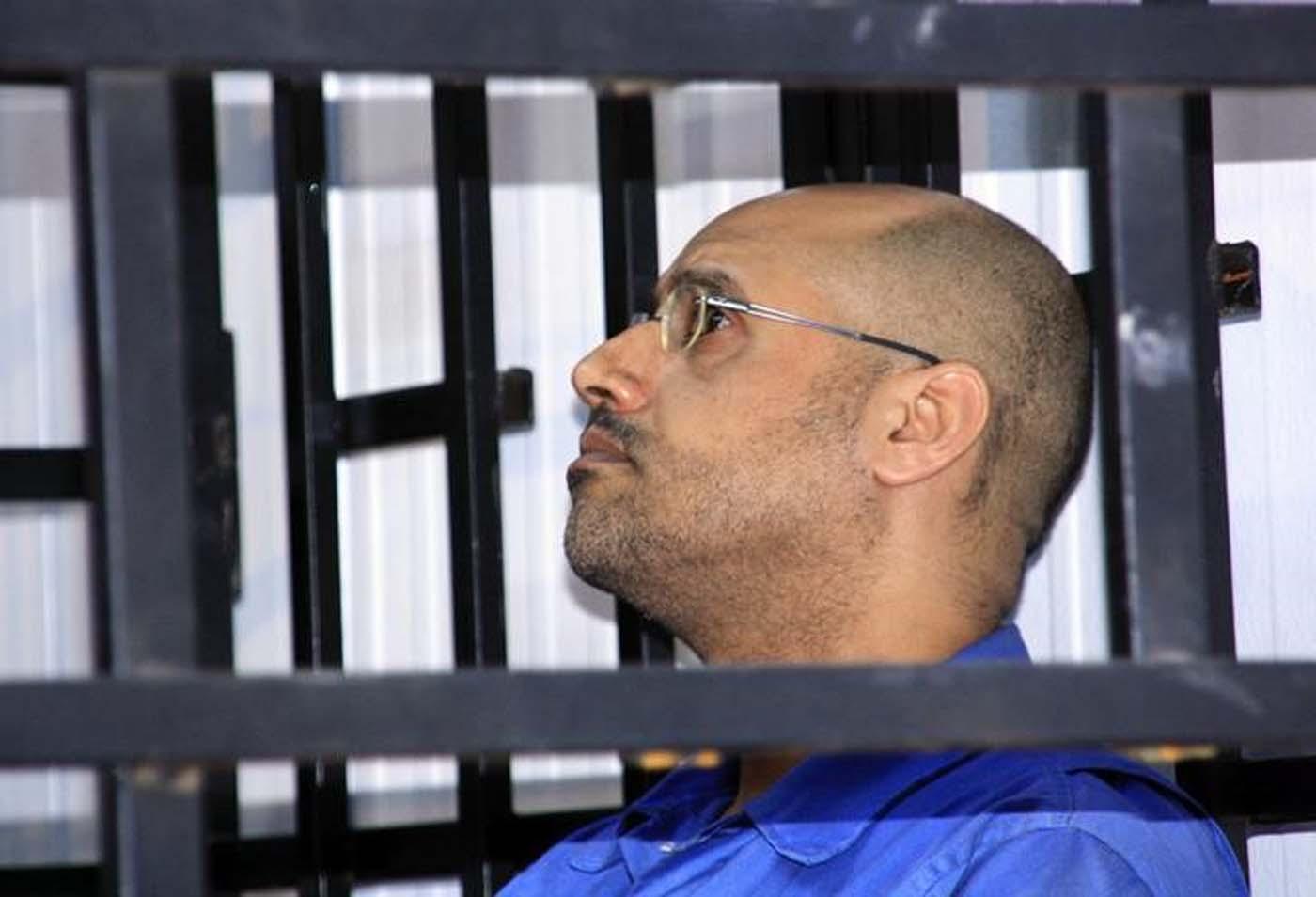Saif al-Islam Gaddafi, hijo de Muammar Gaddafi, durante una audiencia en unna corte en Zintan