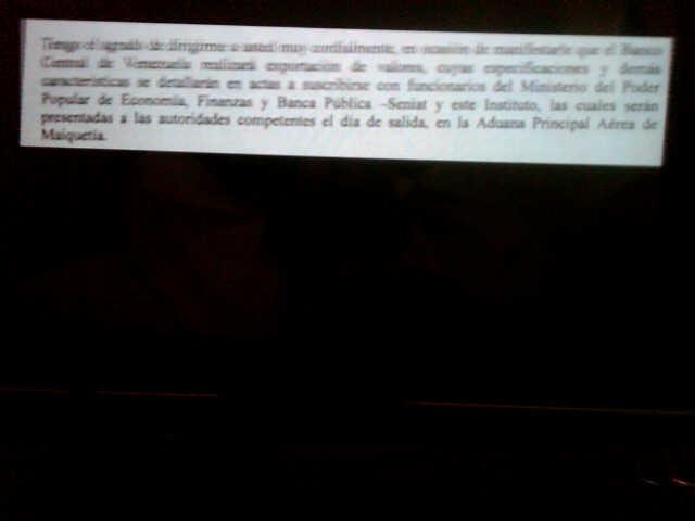 Fragmento de la comunicación del BCV a la aduana de Maaiquetía
