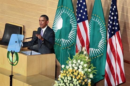 Foto:  El presidente estadounidense Barack Obama pronuncia un discurso en la sede de la Unión Africana en Adís Abeba, Etiopía / EFE