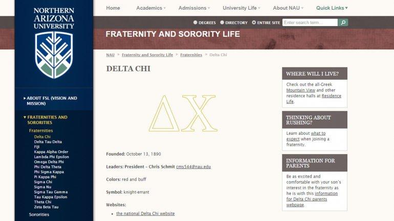 El sitio web del capítulo de Delta Chi