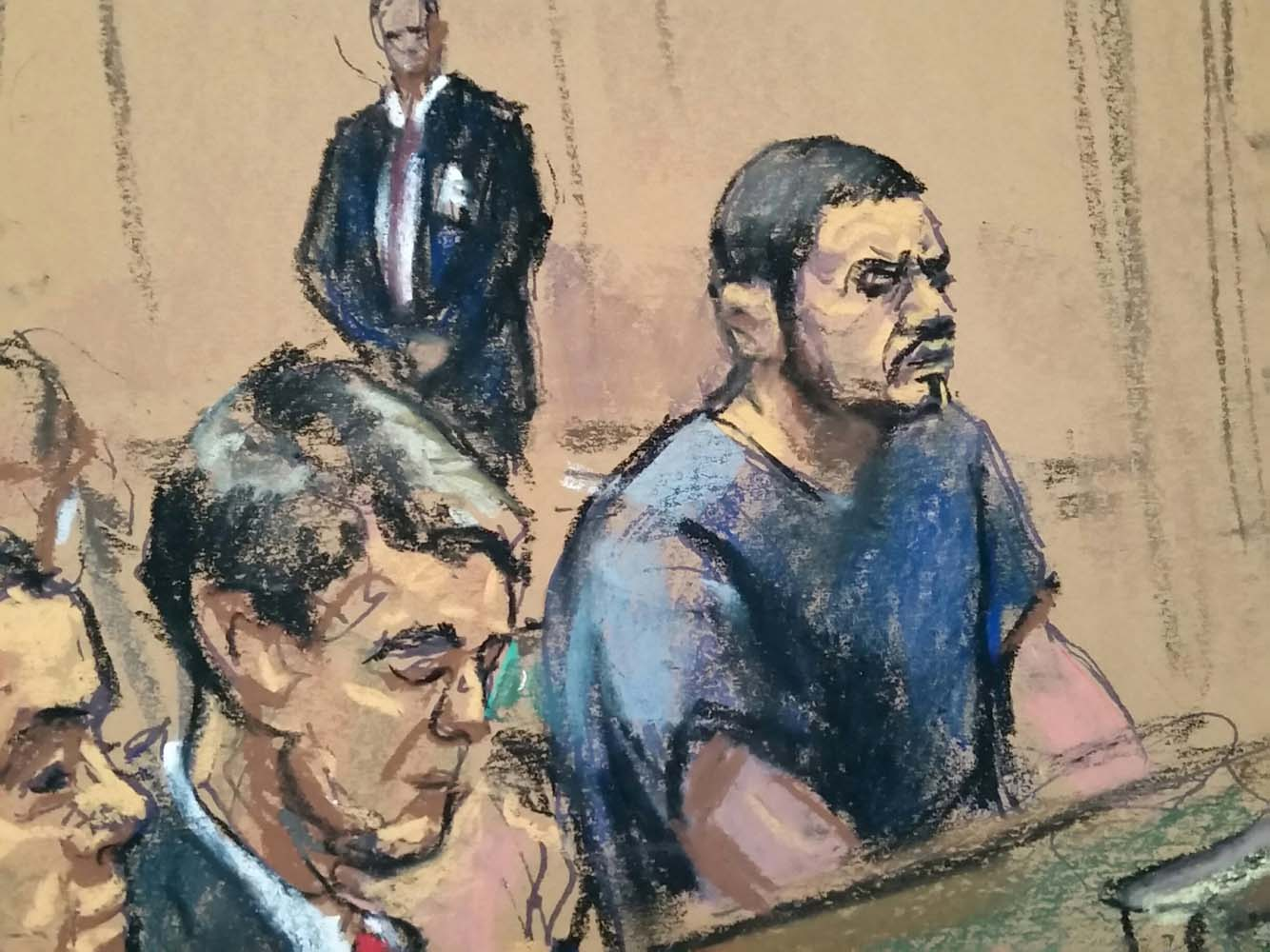 Assistant U.S. Attorneys Brendan Quigley sits by defendant Franqui Francisco Flores de Freitas (R), in federal court in Manhattan, New York, December 17, 2015, in this courtroom sketch. The two nephews of Venezuela's first lady pleaded not guilty on Thursday to U.S. charges that they conspired to import cocaine into the United States. REUTERS/Jane Rosenberg ATTENTION EDITORS - THIS PICTURE WAS PROVIDED BY A THIRD PARTY. REUTERS IS UNABLE TO INDEPENDENTLY VERIFY THE AUTHENTICITY, CONTENT, LOCATION OR DATE OF THIS IMAGE. EDITORIAL USE ONLY. NOT FOR SALE FOR MARKETING OR ADVERTISING CAMPAIGNS. NO RESALES. NO ARCHIVE. THIS PICTURE IS DISTRIBUTED EXACTLY AS RECEIVED BY REUTERS, AS A SERVICE TO CLIENTS