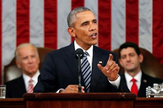 El presidente de Estados Unidos, Barack Obama, durante el discurso del Estado de la Unión hoy, martes 12 de enero de 2016, en el Capitolio en Washington (Estados Unidos). EFE