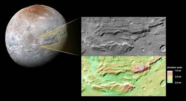 Imagen que muestra cañones en Charon, la mayor luna de Plutón, tomada por la sonda New Horizons en julio pasado. NASA/JHUAPL/SwRI