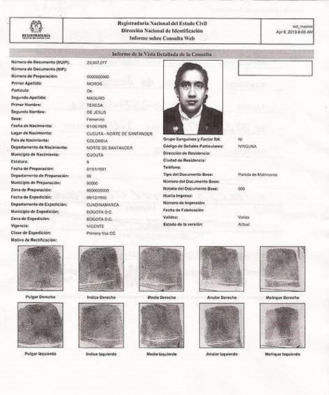 Cédula de ciudadanía de Teresa de Jesús Maduro, mamá de Nicolás Maduro.
