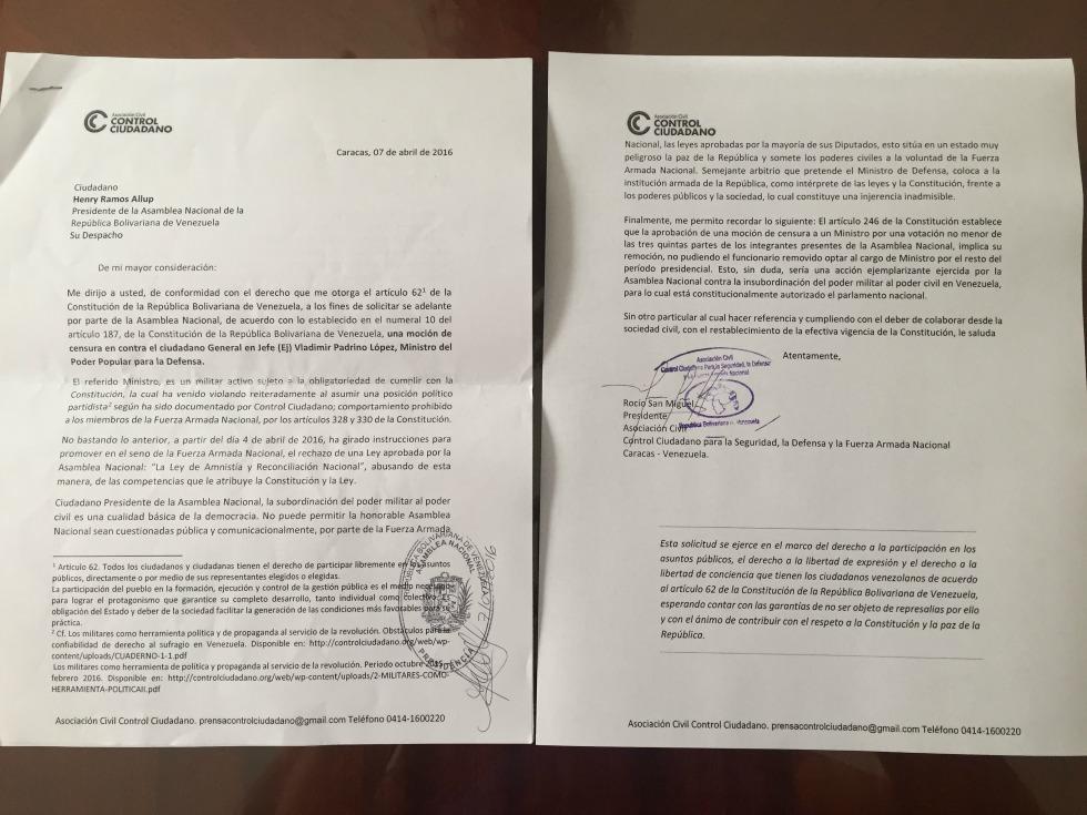 Foto: Solicitud de Censura para Vladimir Padrino / Nota de prensa
