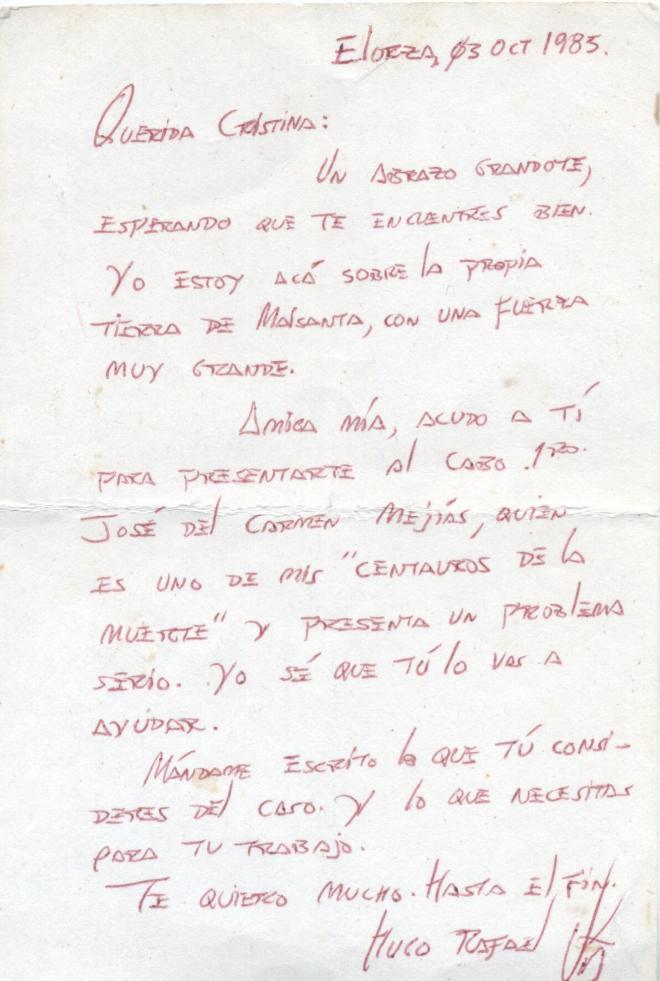 Carta inédita de Hugo Chávez a su primera vidente Cristina Marksman, cedida en exclusiva a EL MUNDO.