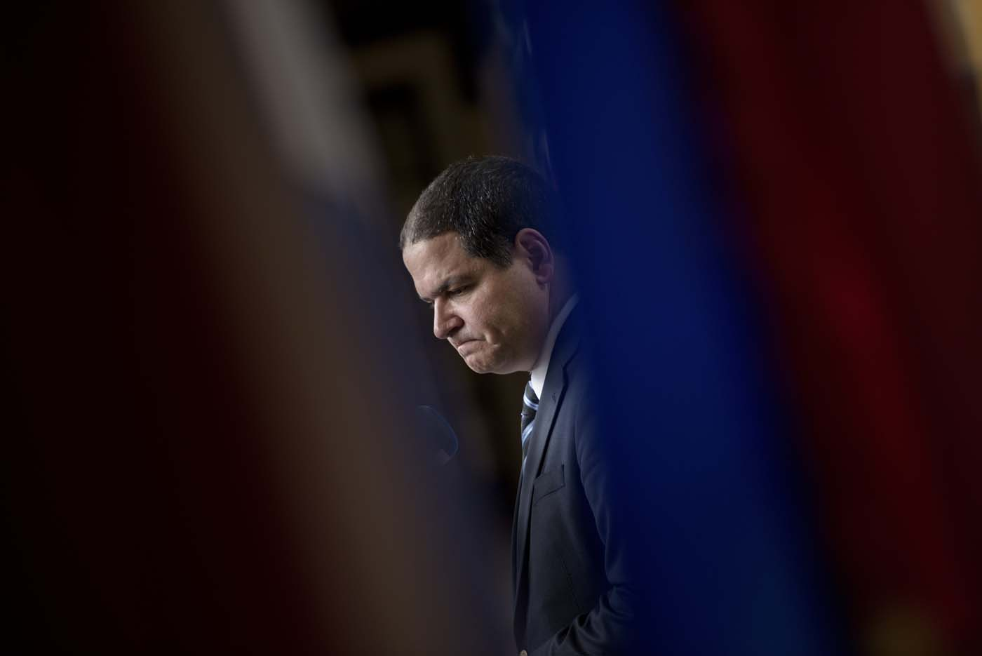 Luis Florido, a member of the opposition in the Venezuelan National Assembly, pauses while speaking to the press after a meeting with Luis Almagro, Secretary General of the Organisation of American States, at the Organisation of American States on May 20, 2016 in Washington, DC. / AFP PHOTO / Brendan Smialowski