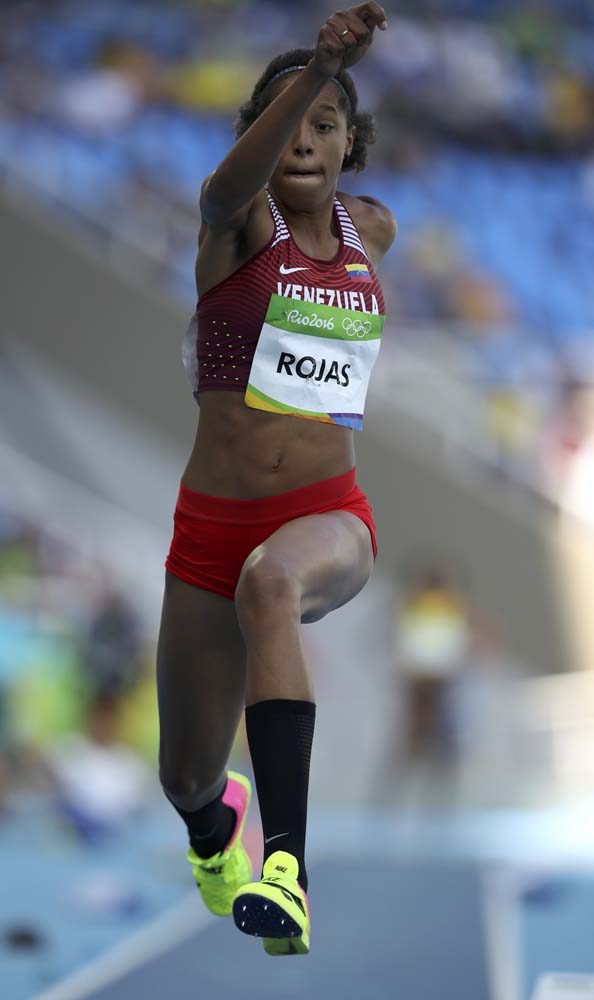 2016 Rio Olympics - Athletics - Preliminary - Women's Triple Jump Qualifying Round - Groups - Olympic Stadium - Rio de Janeiro, Brazil - 13/08/2016. Yulimar Rojas (VEN) of Venezuela competes. REUTERS/Phil Noble FOR EDITORIAL USE ONLY. NOT FOR SALE FOR MARKETING OR ADVERTISING CAMPAIGNS.