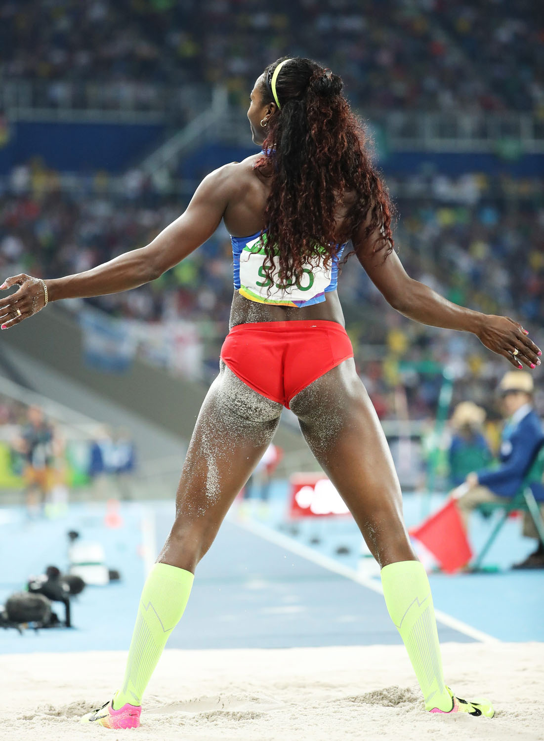 . Rio De Janeiro (Brazil), 15/08/2016.- Caterine Ibarguen of Colombia reacts after an attempt in the women's Triple Jump final of the Rio 2016 Olympic Games Athletics, Track and Field events at the Olympic Stadium in Rio de Janeiro, Brazil, 14 August 2016. Ibarguen won gold. (Atletismo, Brasil) EFE/EPA/DIEGO AZUBEL