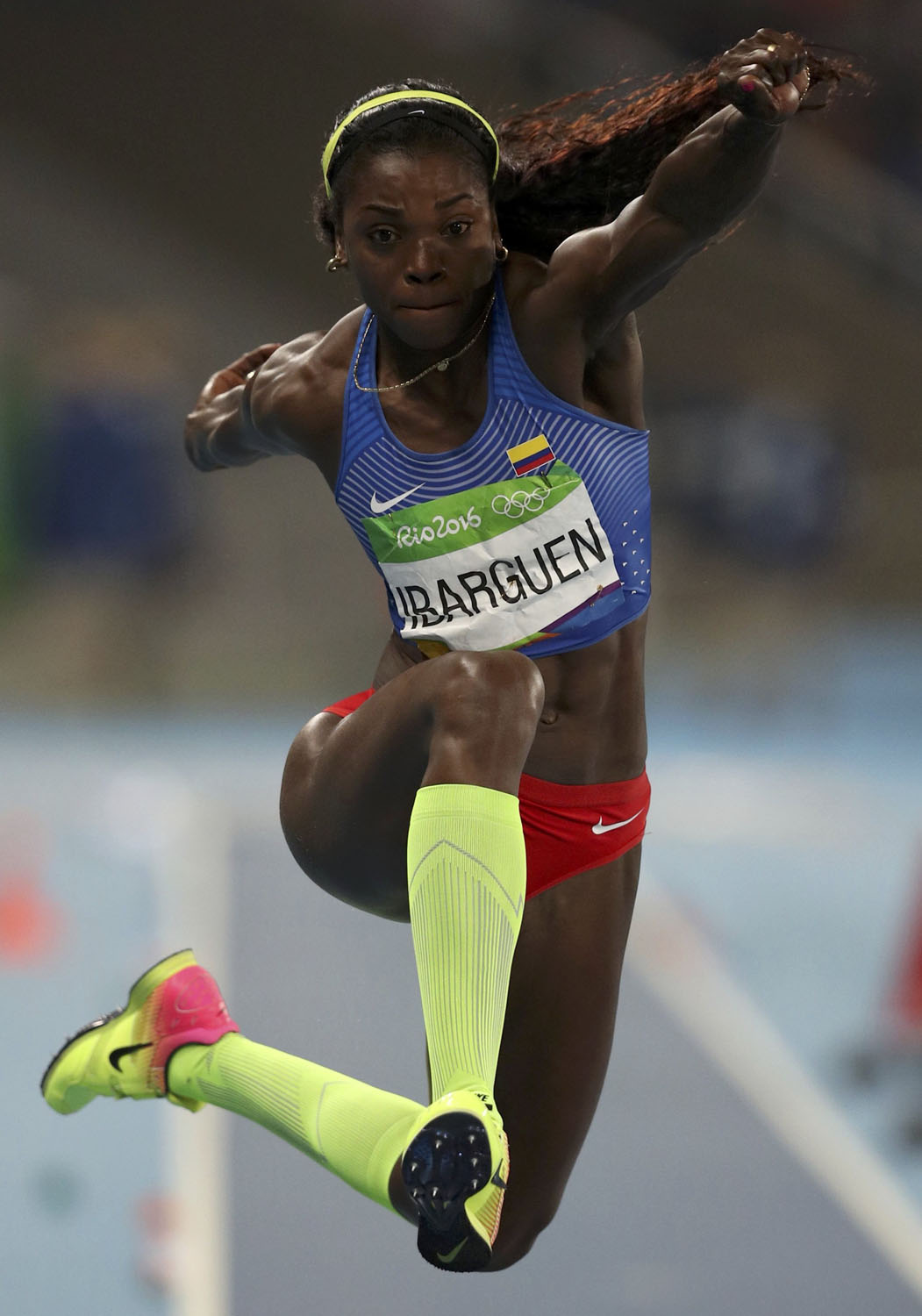 2016 Rio Olympics - Athletics - Final - Women's Triple Jump Final - Olympic Stadium - Rio de Janeiro, Brazil - 14/08/2016.   Caterine Ibarguen (COL) of Colombia competes. REUTERS/Phil Noble  FOR EDITORIAL USE ONLY. NOT FOR SALE FOR MARKETING OR ADVERTISING CAMPAIGNS.