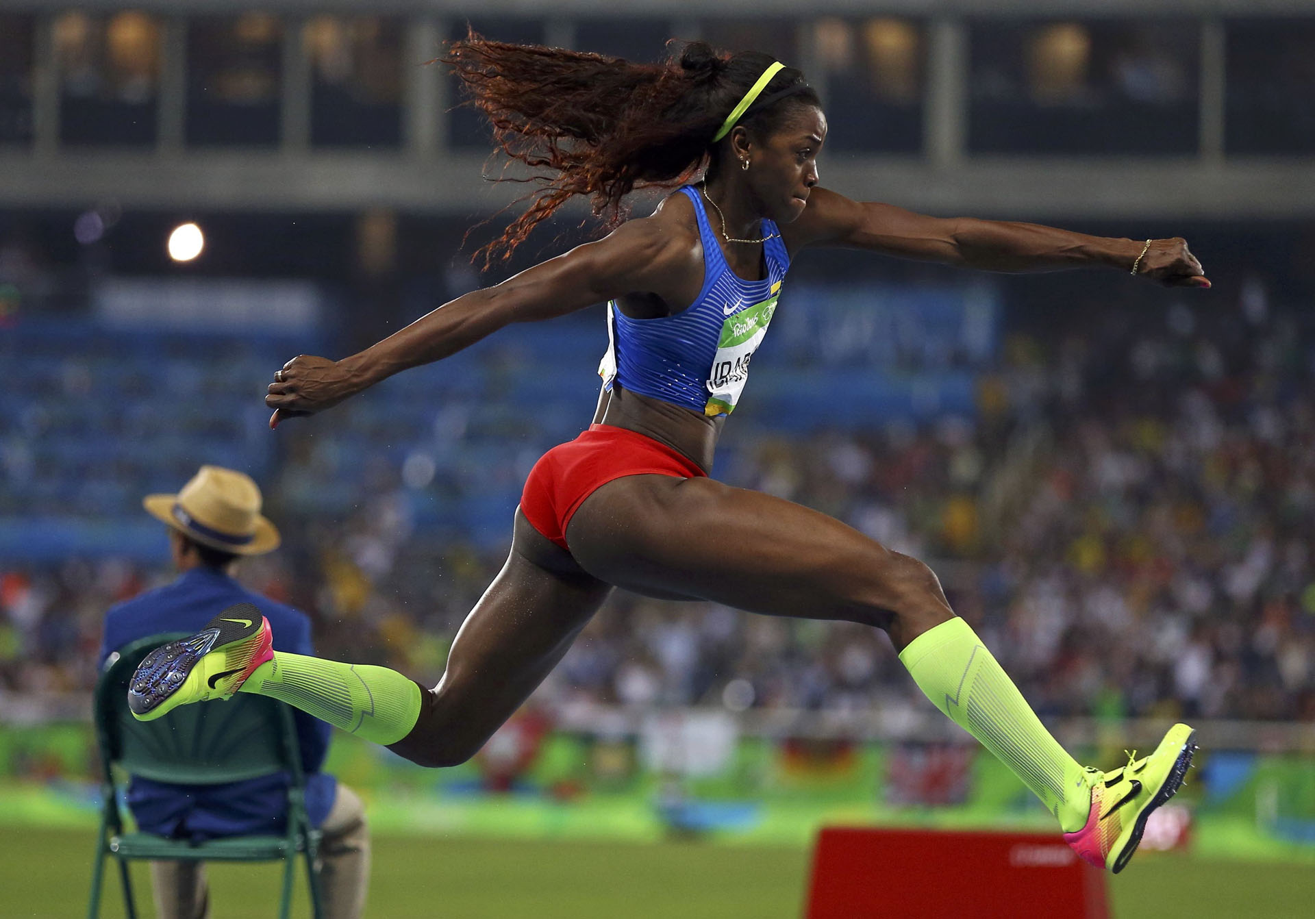 2016 Rio Olympics - Athletics - Final - Women's Triple Jump Final - Olympic Stadium - Rio de Janeiro, Brazil - 14/08/2016. Caterine Ibarguen (COL) of Colombia competes. REUTERS/Ivan Alvarado FOR EDITORIAL USE ONLY. NOT FOR SALE FOR MARKETING OR ADVERTISING CAMPAIGNS.