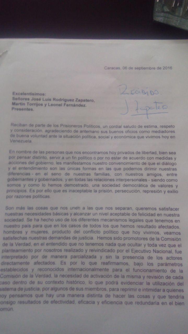 carta zapatero presos politicos