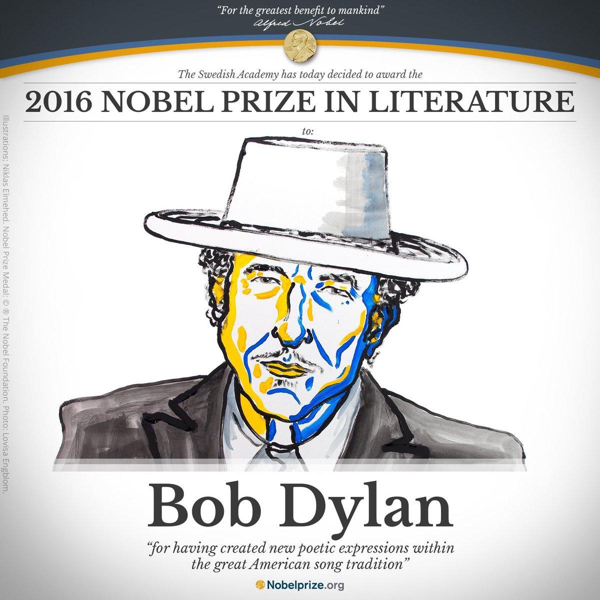 Resultado de imagen para nobel de literatura 2016