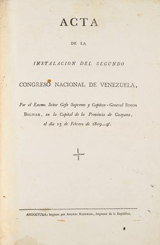 Acta de la instalacion del Segundo Congreso Nacional de Venezuela