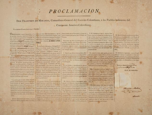 Proclamacion Francisco de Miranda