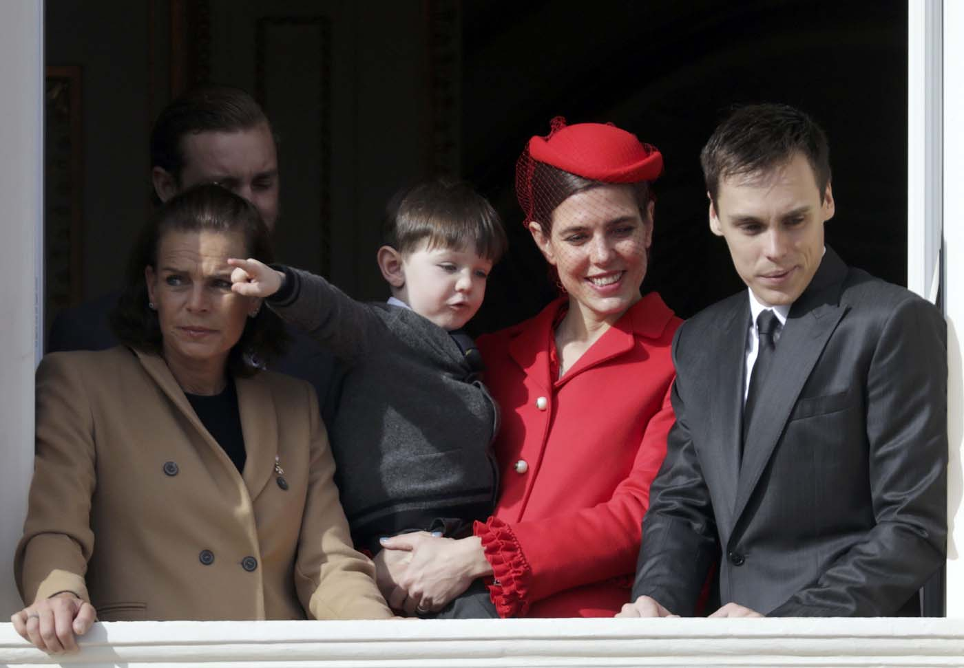 Princess Stephanie (L), her son Louis Ducruet (R), Charlotte Casiraghi (2ndR) and her son Raphael, stand at the Palace Balcony during Monaco's National Day November 19, 2016. REUTERS/Eric Gaillard