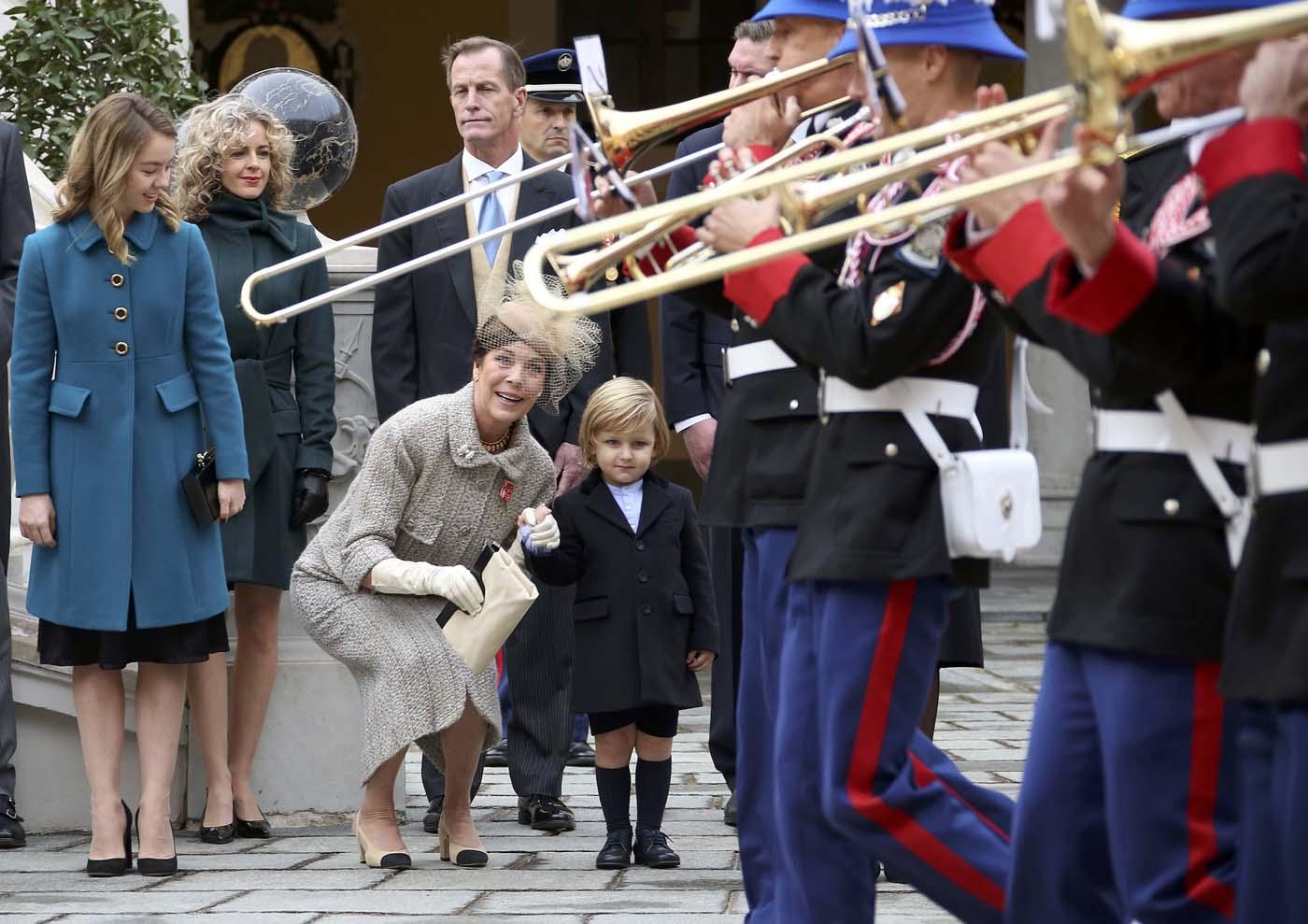 (L-R) Princess Alexandra of Hanover, Princess Caroline of Hanover and Andrea Casiraghi's son, Sacha attend the celebrations marking Monaco's National Day at the Monaco Palace November 19, 2016. REUTERS/Eric Gaillard