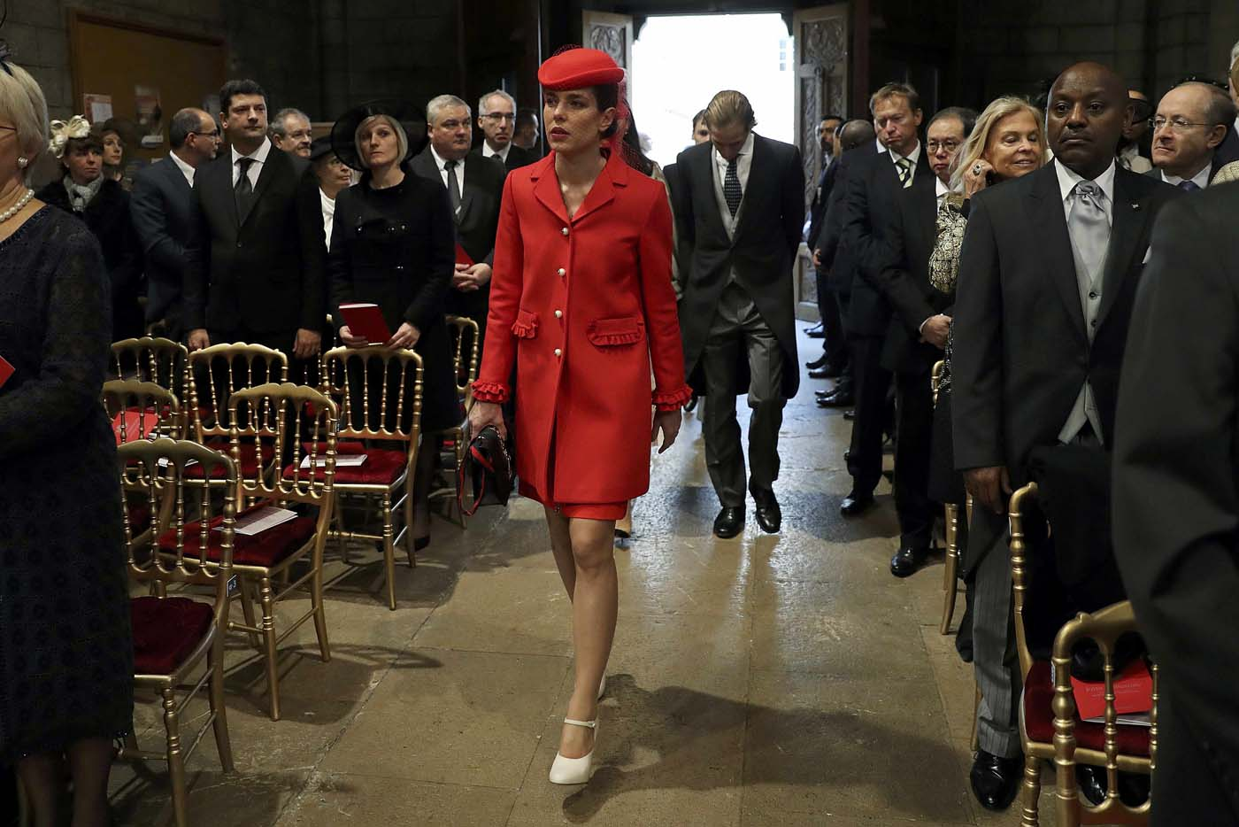Monaco's Princess Charlotte Casiraghi arrives to attend a mass at the Saint Nicholas Cathedral during the celebrations marking Monaco's National Day, on November 19, 2016 in Monaco. REUTERS/Valery Hache/Pool