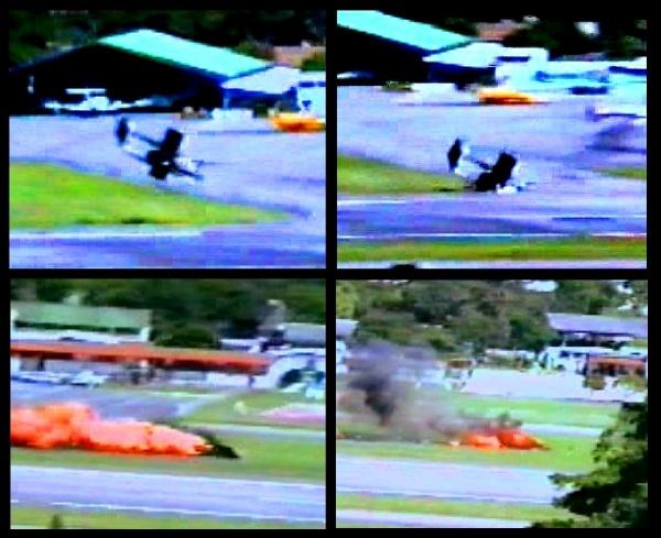 Un avión Bronco que atacaba la Base aérea Francisco de Mirada en La Carlota cae por fuego antiaéreo en la pista de la base / archivo