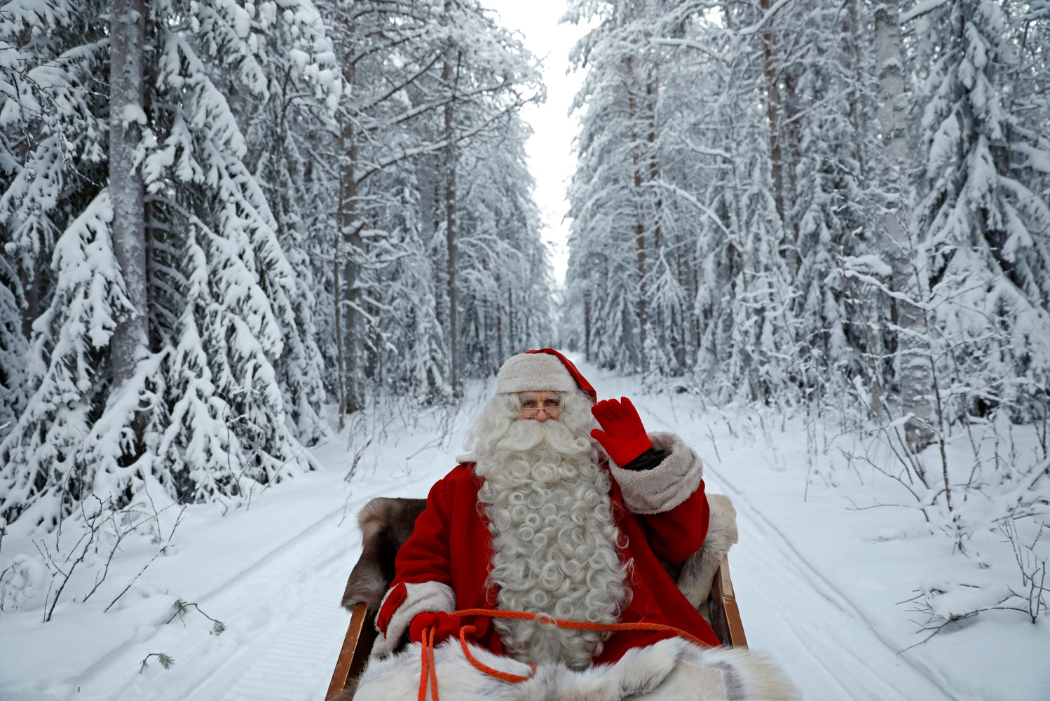 "Santa Claus rides in his sleigh as he prepares for Christmas in the Arctic Circle near Rovaniemi, Finland December 15, 2016. REUTERS/Pawel Kopczynski SEARCH ""KOPCZYNSKI SANTA"" FOR THIS STORY. SEARCH ""THE WIDER IMAGE"" FOR ALL STORIES TPX IMAGES OF THE DAY"