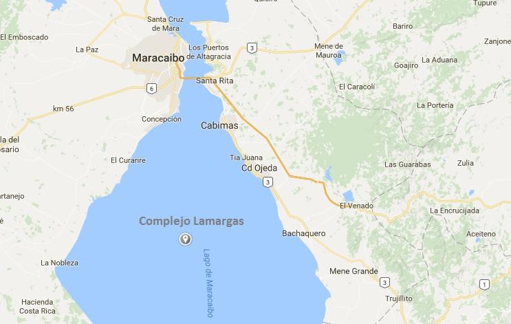 El Cpmplejo Lamargas se encuentra ubicado en el Campo Lamas, en el centro del Lago de Maracaibo