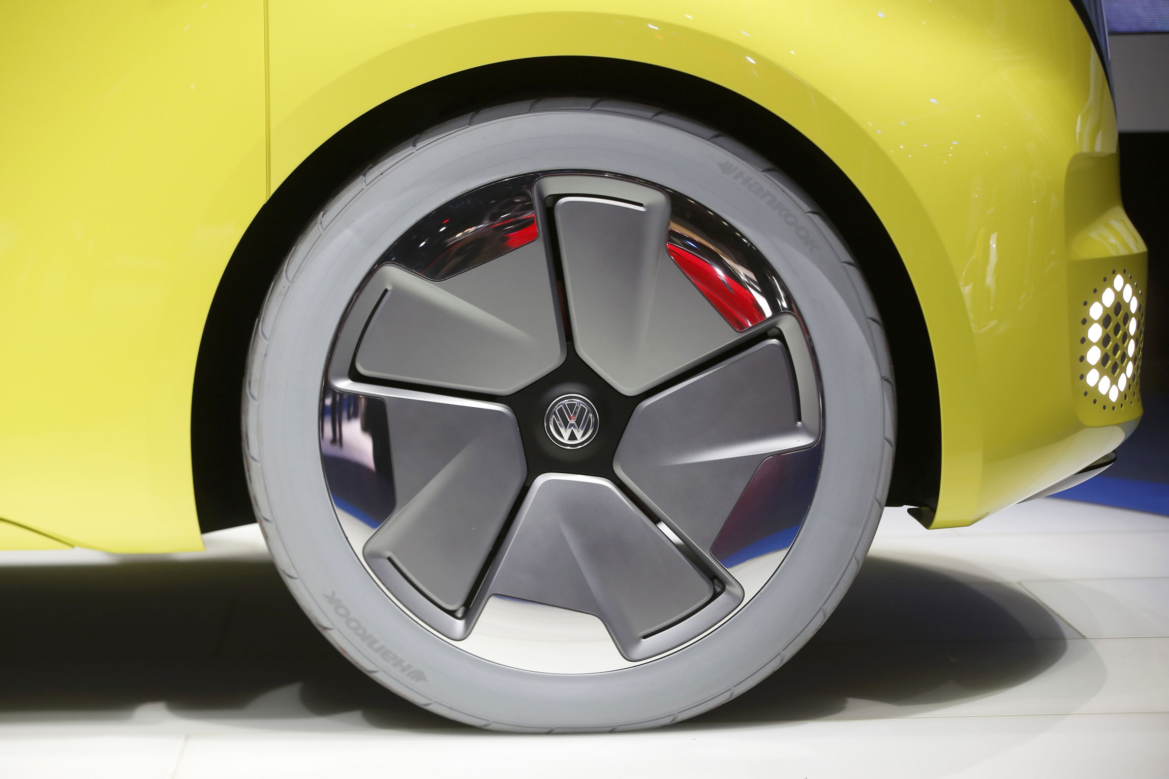 Detail view of a wheel and tire on a Volkswagen I.D. Buzz electric concept vehicle during the North American International Auto Show in Detroit