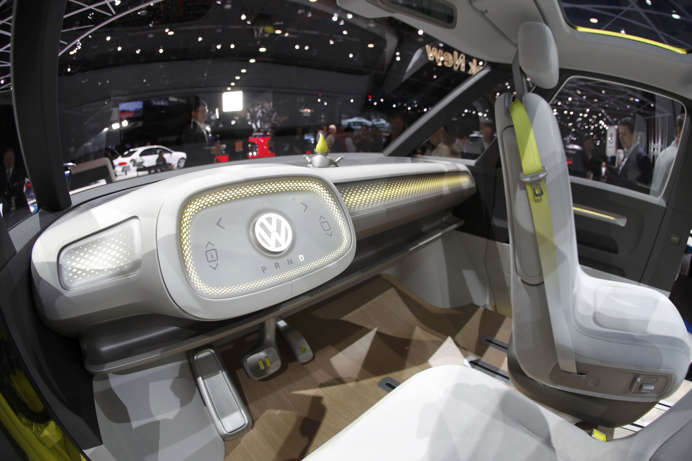 Interior view of the Volkswagen I.D. Buzz electric concept vehicle being displayed during the North American International Auto Show in Detroit