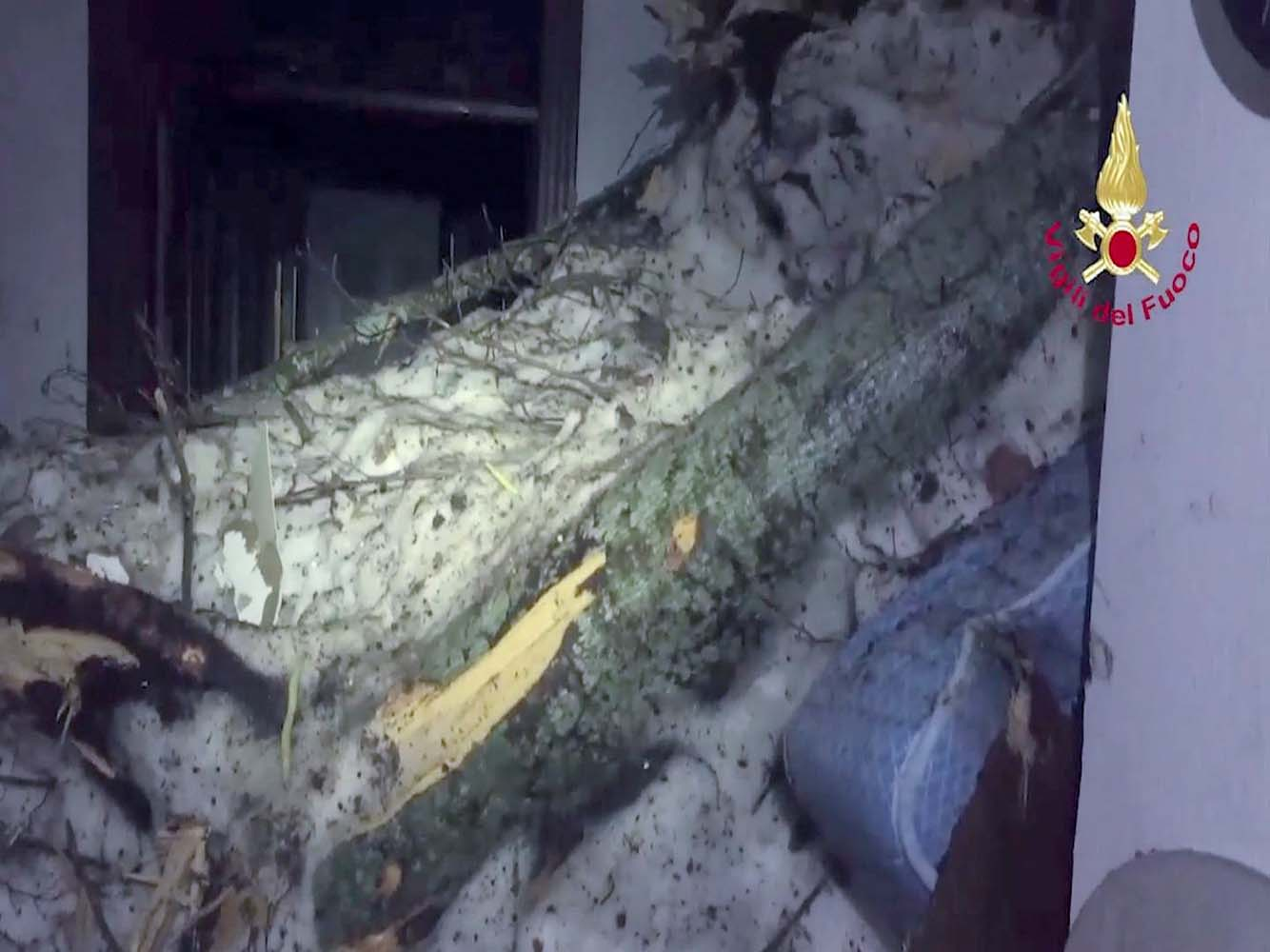 A still image taken from a video shows the snow inside the Hotel Rigopiano, central Italy, after it was hit by an avalanche, January 20, 2017 provided by Italy's Fire Fighters. Vigili del Fuoco/Handout via REUTERS ATTENTION EDITORS - THIS IMAGE WAS PROVIDED BY A THIRD PARTY. EDITORIAL USE ONLY.