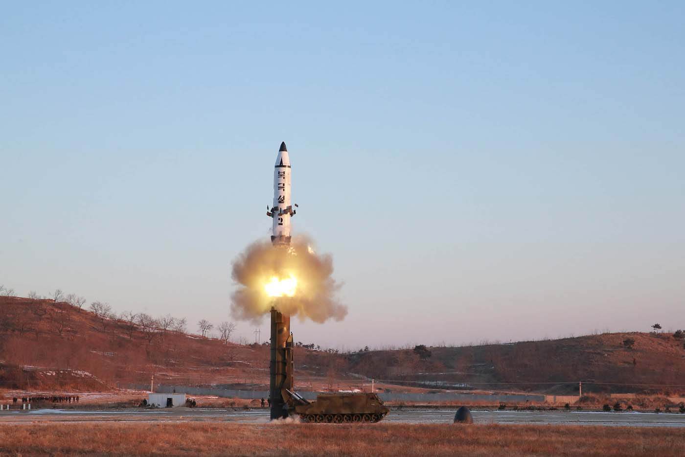 A view of the test-fire of Pukguksong-2 guided by North Korean leader Kim Jong Un on the spot, in this undated photo released by North Korea's Korean Central News Agency (KCNA) in Pyongyang February 13, 2017. KCNA/Handout via Reuters ATTENTION EDITORS - THIS PICTURE WAS PROVIDED BY A THIRD PARTY. REUTERS IS UNABLE TO INDEPENDENTLY VERIFY THE AUTHENTICITY, CONTENT, LOCATION OR DATE OF THIS IMAGE. FOR EDITORIAL USE ONLY. NO THIRD PARTY SALES. SOUTH KOREA OUT.  THIS PICTURE IS DISTRIBUTED EXACTLY AS RECEIVED BY REUTERS, AS A SERVICE TO CLIENTS.  TPX IMAGES OF THE DAY