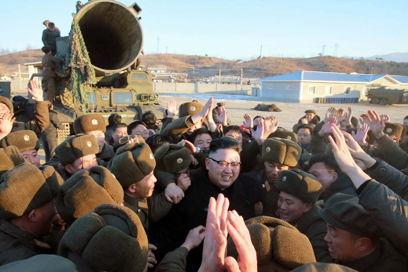 North Korean leader Kim Jong Un guides the test-fire of Pukguksong-2 on the spot, in this undated photo released by North Korea's Korean Central News Agency (KCNA) in Pyongyang February 13, 2017. KCNA/Handout via Reuters ATTENTION EDITORS - THIS PICTURE WAS PROVIDED BY A THIRD PARTY. REUTERS IS UNABLE TO INDEPENDENTLY VERIFY THE AUTHENTICITY, CONTENT, LOCATION OR DATE OF THIS IMAGE. FOR EDITORIAL USE ONLY. NO THIRD PARTY SALES. SOUTH KOREA OUT.  THIS PICTURE IS DISTRIBUTED EXACTLY AS RECEIVED BY REUTERS, AS A SERVICE TO CLIENTS.      TPX IMAGES OF THE DAY