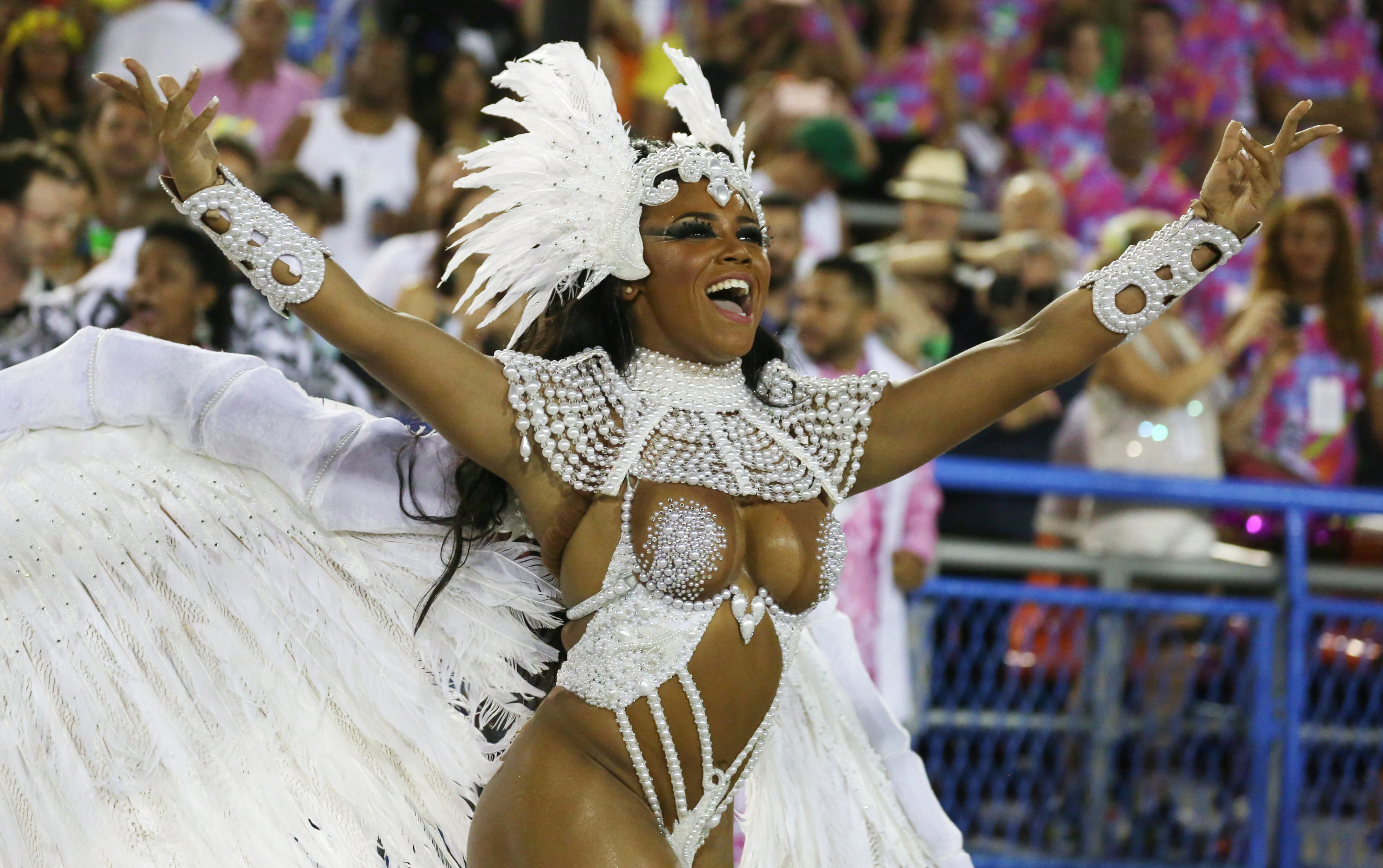 Drum queen Evelyn Bastos from Mangueira samba school performs during the second night of the carnival parade at the Sambadrome in Rio de Janeiro