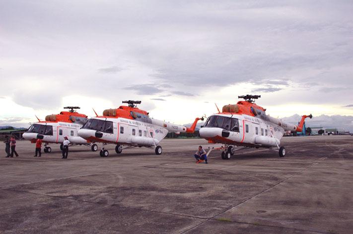Los MI-17 SAR a su llegada al país