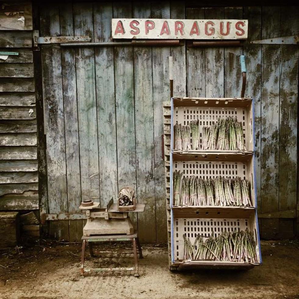 """TERCER LUGAR, COMIDA """"Esta imagen fue tomada fuera de una vieja granja-tienda destartalada en Suffolk. La zona es conocida por sus espárragos y la temporada de crecimiento dura sólo un par de semanas, el agricultor acababa de recoger los racimos que se muestran en la fotografía en media hora, la mayoría había sido vendida""""."""