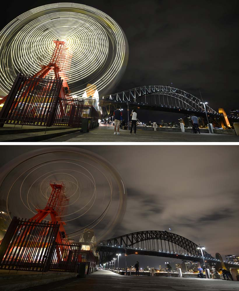This combo shows photos of the ferris wheel at Luna Park and Sydney Harbour Bridge before (top) being plunged into darkness (bottom) for the Earth Hour environmental campaign in Sydney on March 25, 2017. The lights went out on two of Sydney's most famous landmarks for the 10th anniversary of the climate change awareness campaign Earth Hour, among the first landmarks around the world to dim their lights for the event. / AFP PHOTO / PETER PARKS