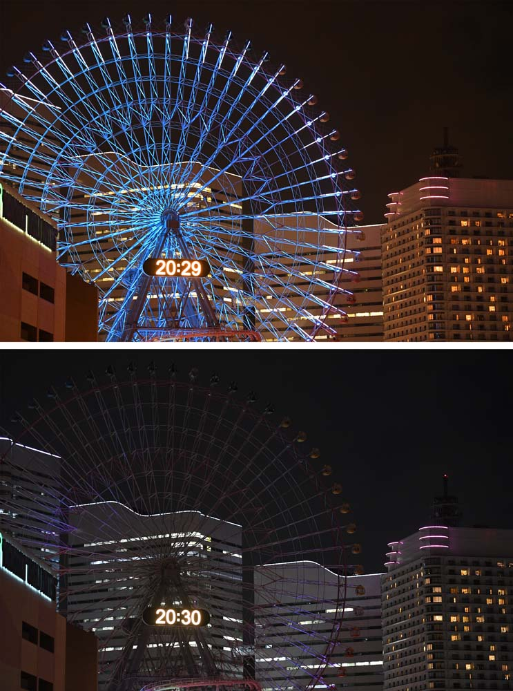 This combo image shows the Yokohama giant ferris wheel, Cosmo Clock 21, illuminated (top) and with its lights switched off (bottom) for the Earth Hour environmental campaign in Yokohama on March 25, 2017. / AFP PHOTO / Toshifumi KITAMURA